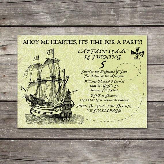 PRINTABLE Pirate Ship birthday party invitation