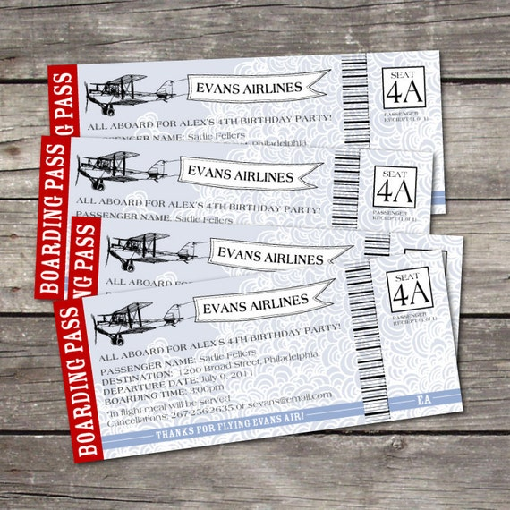 Airplane Ticket Boarding Pass Birthday Invitation: Items Similar To PRINTABLE 3x9 Vintage Airplane Boarding