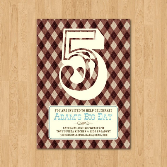 PRINTABLE modern argyle boy or girl birthday party invitation