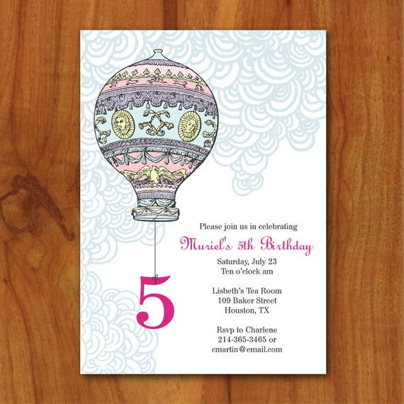PRINTABLE Hot Air Balloon Girl birthday party or baby shower invitation