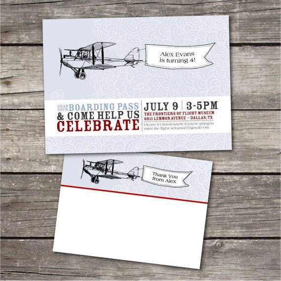 PRINTABLE Vintage Airplane themed birthday party pack