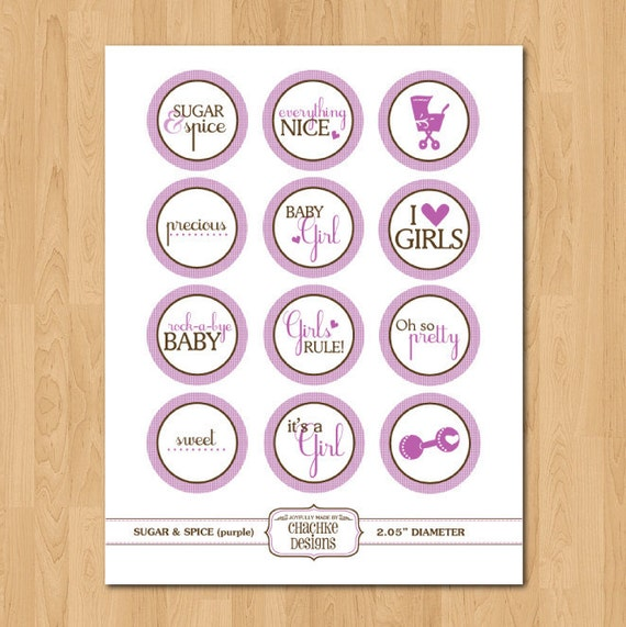 Sugar & Spice baby girl themed digital collage sheet - 2 INCH CIRCLES for scrapbooking, cupcake toppers, magnets, stickers, tags and more