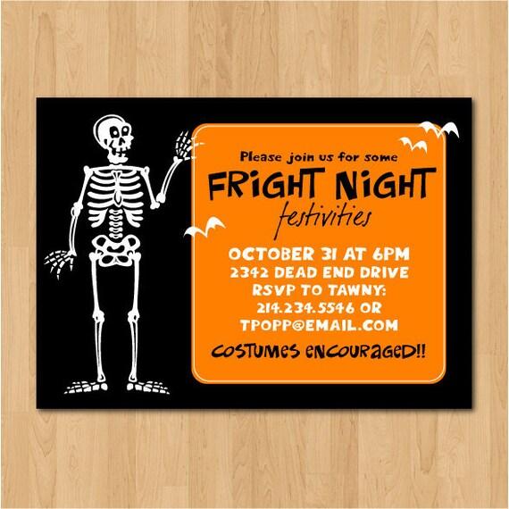 PRINTABLE Skeleton Halloween Party Invitation or Evite