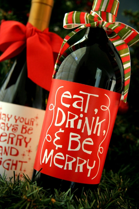PRINTABLE whimsical Christmas wine bottle wrappers
