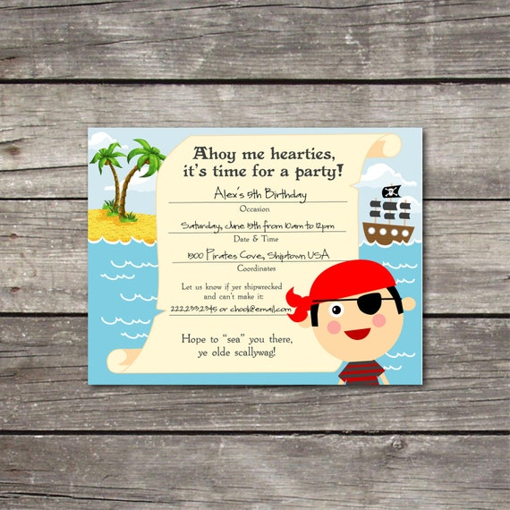 PRINTABLE Pirate Boy Fill-in-the-Blank birthday party invitation
