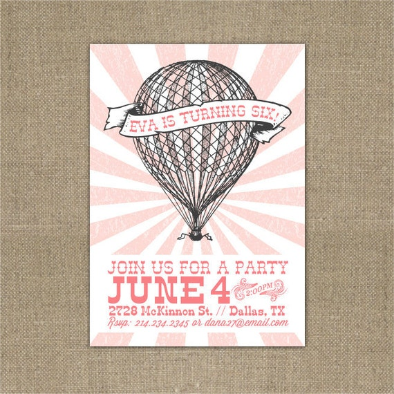 PRINTABLE Vintage Hot Air Balloon birthday party invitation