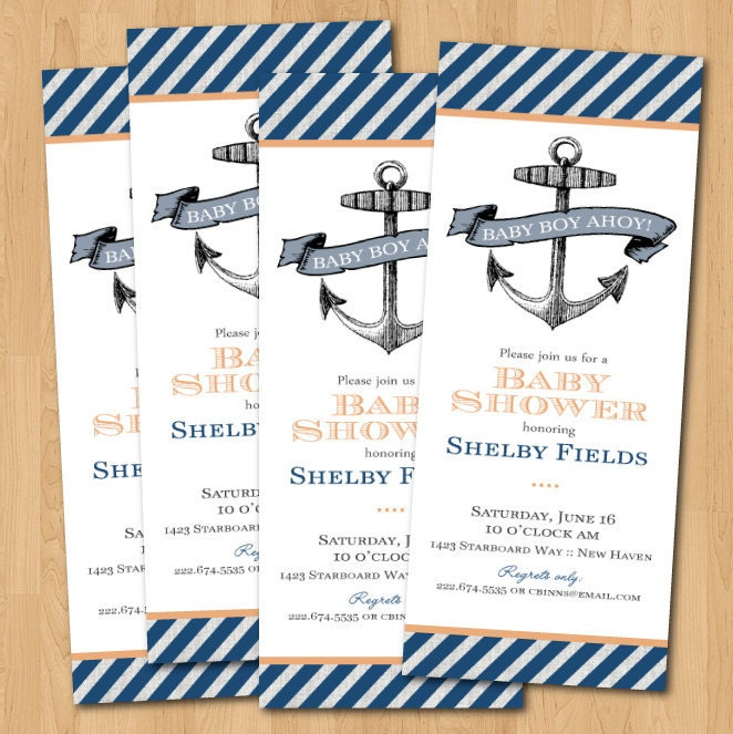 printable nautical anchor baby shower invitation