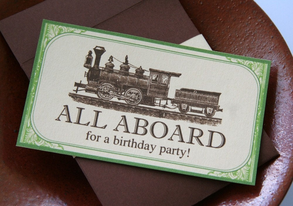 Old Tyme Train Ticket Birthday Party Invitations By