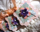 Peach Green and Purple Decorative Square Gift Tags by Pearliebird on Etsy-hang tags-purple-flower-orange-green-festive-sugar cookies