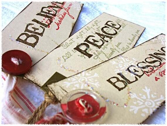 Spirit of Christmas gift tags-Inspirational Holiday trimming hang tags-green-red-cream-brown-christmas