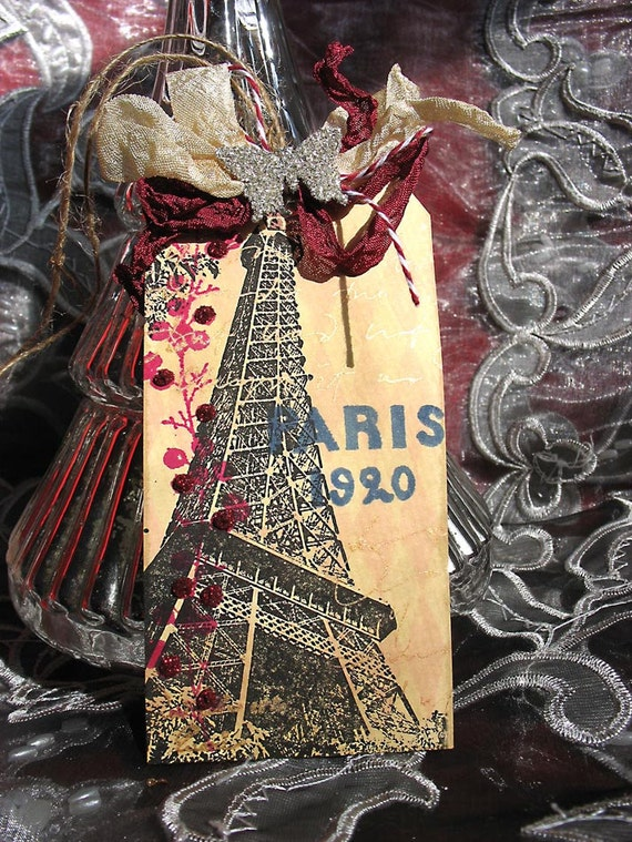 Paris Eiffel Tower Vintage Inspired Distressed Gift Tags-Mothers Day-spring-grunge-antiqued-Paris apartment-victorian style-tea coffee stain