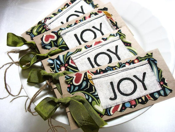 Rustic Italian Inspired JOY Gift Tags by Pearliebird on Etsy-fabric tag-recycled kraft brown-Tuscan-primitive-olive green-garden-hang tag