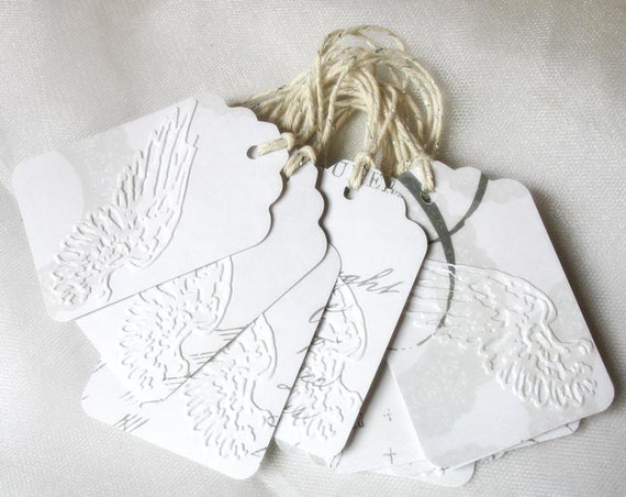 Angel Wing Dry Embossed Gift Tags-heavenly-angel-wing-cupid-white-grey