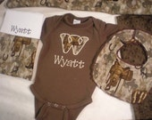 Baby Boy Gift Set - Personalized Brown Onesie and Burp Cloth With Matching Dribble Bib