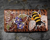 Flowers and Bee Decorated Leather Wallet - Brown