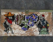 Day of the Dead Decorated Clutch Wallet - Tan