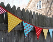 CIRCUS CARNIVAL Birthday Decoration, Party Banner in Red, Yellow, Aqua Blue - Extra Long Kids Photo Prop, Primary Colors - Fabric Flags