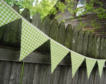 Gingham Birthday Banner Bunting, LIME GREEN - BBQ Decor, Picnic Photo Prop, Girl's Party, Lemonade Stand -- cloth, fabric flags