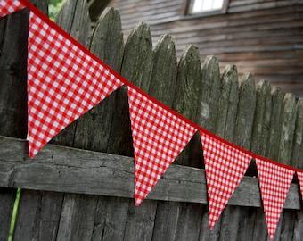 Red Gingham BBQ Birthday Bunting Banner, Farm, Farmyard or Barnyard Party, Picnic Garland, Decoration -- fabric flags decor -- SALE