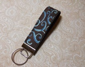 Chocolate and Teal Fabric Key Fob