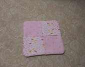 Leaves of Pink and Polka Dots Coaster