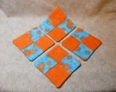 Orange and Blue Flowers Coasters- Set of 4