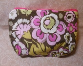 Large Chocolate Bloom Cosmetic Pouch
