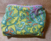 Large Sunshine and Lime Cosmetic Pouch