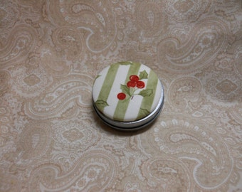 Green Christmas Holly Trinket Box