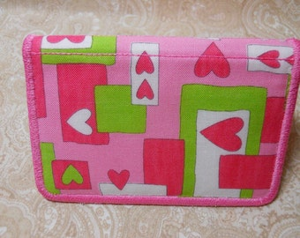 Pink Hearts Business Card Case