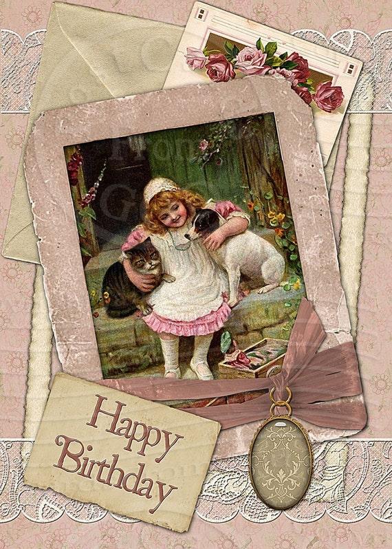 Happy Birthday / Rose 5x7 Greeting Card  - Ready To Print Digital JPG Sheet