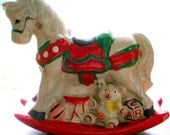 Vintage Ceramic Rocking Horse Bank - Carousel Colorful - It Rocks