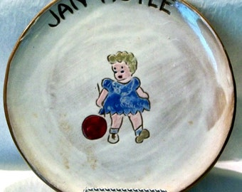 Sheffield Pottery Hand Crafted/Painted Glazed Plate Blond Child, Red Ball - Jan Hoyle - Signed - OOAK