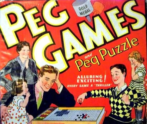 Vintage Transogram Gold Medal Peg Game & Puzzle - 1935