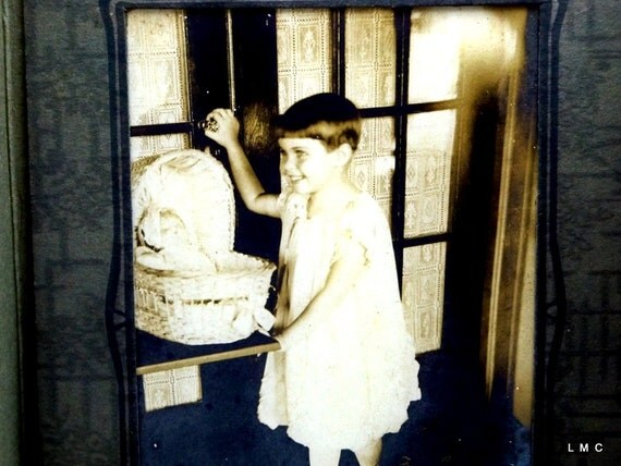 Young Girl with Doll in Wicker Bassinet - Vintage and Charming Photograph - Circa 1920s