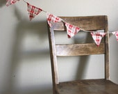 LAST ONE Red and white plaid pennant banner bunting