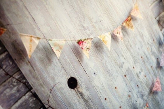 LAST ONE Vintage Floral Wedding Pennant Banner Bunting Set