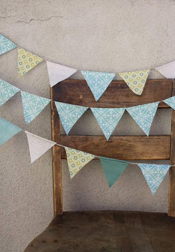 Green, Blue, and White Pastel Wedding Pennant Banner Bunting