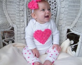 Rosette Heart and Bow with Rhinestones plus Leg Warmers, Hot Pink, Red or Light Pink