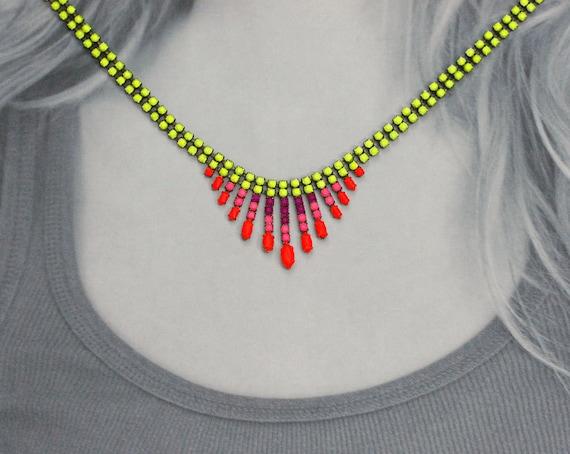 Painted Rhinestone Fringe Necklace Neon Pink Purple Yellow Orange