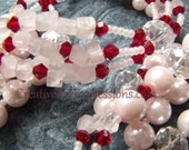 22 Inch Pink, Red, and White 4 strand Necklace with Red Crystal Hearts Pendant