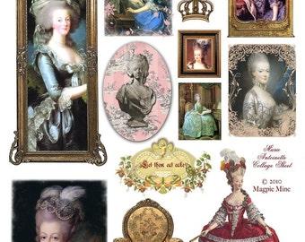 Marie Antoinette Collage Sheet - French - Paris - Portraits - Digital Download - Printable - Instant Download