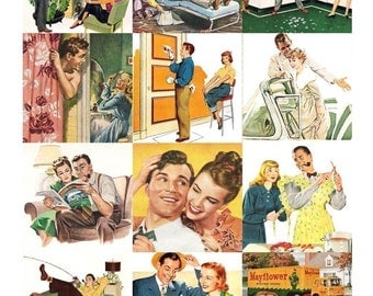 Retro Dads Collage Sheet - 2.5 x 2.5 inch Squares - 1950s - Digital Download - Printable - Instant Download