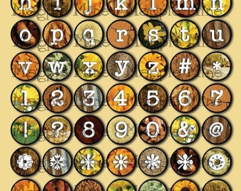 Typewriter Keys Collage Sheet 1-Inch Circles in Shades of Gold - Instant Download - Printable