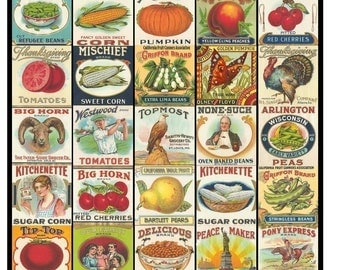 Eat Your Fruits and Veggies Collage Sheet - Vintage Fruit and Vegetable Labels - 1.5 x 1.5 Inches - Instant Download - Printable