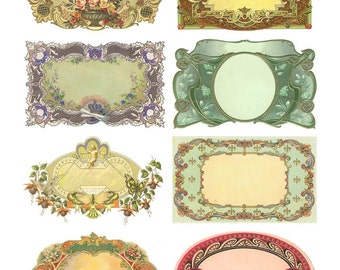 Ornate Victorian Labels Collage Sheet - Instant Download - Fancy Frames - 2 x 3.5 Inches Each - Printable