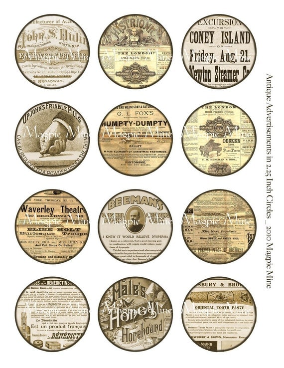 Advertisements Instant Download - Digital Collage Sheet - 2.25 Inch Circles - Vintage Stained Sepia Toned - Download - Printable