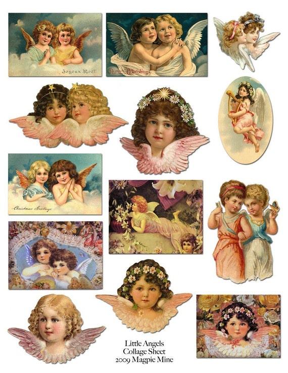 Little Victorian Angels Printable Collage Sheet - Sweet Vintage Images - Digital Images - Instant Download