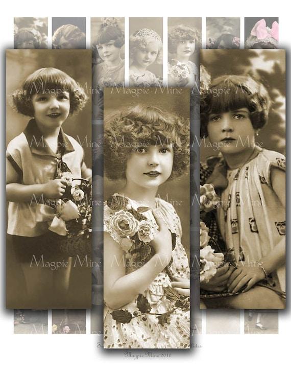 Vintage Children Digital Collage Sheet - Little Girls - 1 x 3 Inches for Glass Slides - Printable - Instant Download