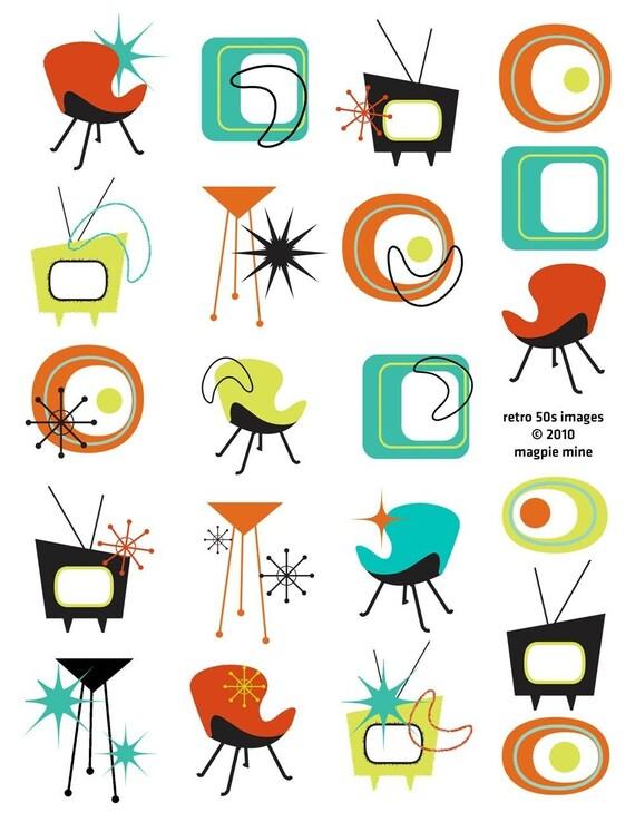 Mid Century Designs Retro Collage Sheet 1950s 1960s